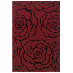Milan Red/Black 5'X8' Area Rug,