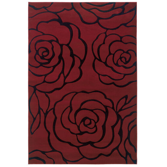 Milan Red/Black 8'X10' Area Rug, RED BLACK