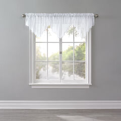 BH Studio Crushed Voile Ascot Valance, WHITE