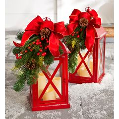 """20""""H Red Christmas Lantern with LED Candles,"""