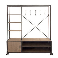 """Industrial Rectangular Brown Wood and Metal Multi-Tiered Clothing Rack, 72""""H x 44""""L x 17""""W,"""