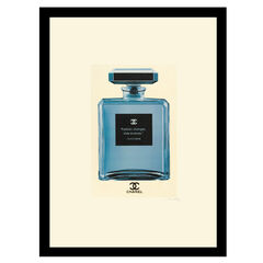 """Chanel Bottle Quote """"Fashion Changes"""" - Blue / White - 14x18 Framed Print,"""