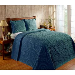 Rio Collection Chenille Bedspread by Better Trends, TEAL