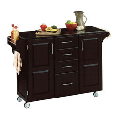 Large Black Finish Create a Cart with Black Granite Top,