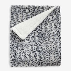 Faux Fur Animal Print Throw, SNOW LEOPARD PRINT