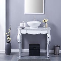 Luella Mirrored Vanity Sink with Natural Marble Countertop,