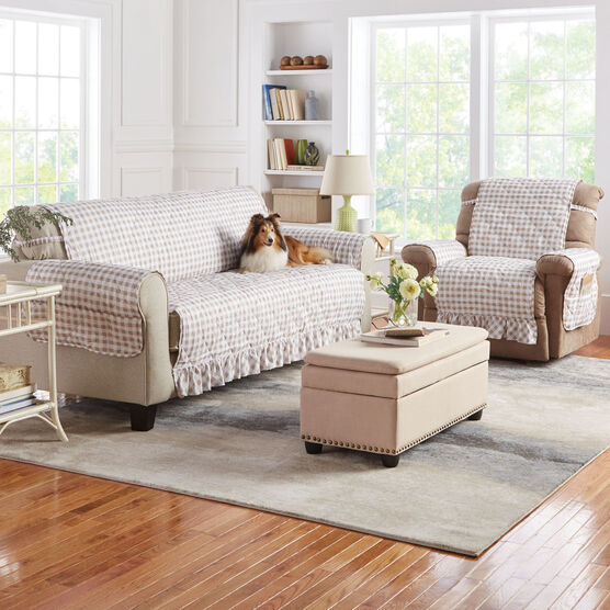 Gingham Ruffled Waterproof Microfiber Sofa Protector,