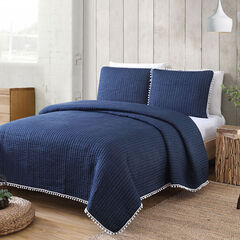 Estate Collection Costa Brava Quilt Set, NAVY
