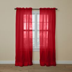 BH Studio Sheer Voile Rod-Pocket Panel Pair, RUBY