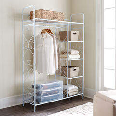 5-Tier Metal Closet with Hanging Rod, WHITE