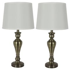 Antique Brass Touch Control 2-Pack Lamps,