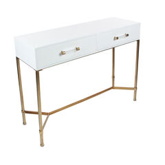 White Glam Metal Console Table, 31 x 47,