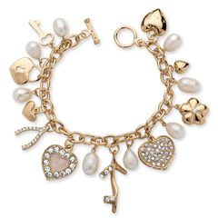"Gold Tone Charm Bracelet Crystal and Cultured Freshwater Pearl 8"","