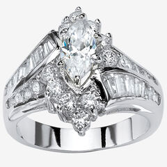 Platinum-Plated Marquise Engagement Ring Cubic Zirconia,