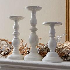 White Candlesticks, Set of 3,