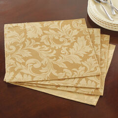 Set of 4 Damask Linen Placemats,
