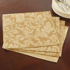 Set of 4 Damask Linen Placemats,