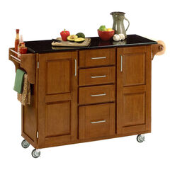 Large Cottage Oak Finish Create a Cart with Black Granite Top,
