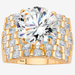 Gold over Sterling Silver Round Ring Cubic Zirconia (9 cttw TDW),