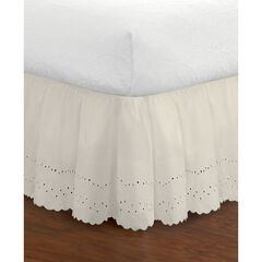 "Fresh Ideas Ruffled Eyelet 18"" Bed Skirt, Twin, IVORY"