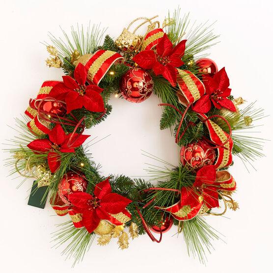 Pre-Lit Ribbon Wreath, MULTI