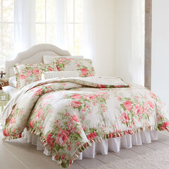 Brianna Cabbage Rose Comforter, TAUPE FLORAL MULTI