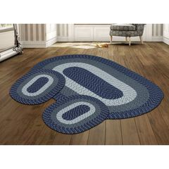 Better Trends Country Braid Collection 3 Piece Set Durable & Stain Resistant Reversible Indoor Oval Area Rug, DARK BLUE STRIPE
