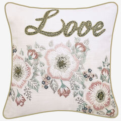 "Floral Beaded ""Love"" Decorative Pillow,"
