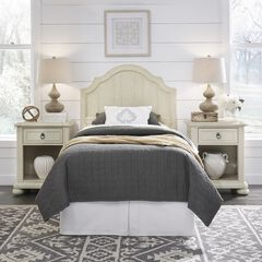 Provence White Twn Headboard & 2 Night Stands,