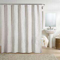 Ella European Matelassé Shower Curtain, GRAY