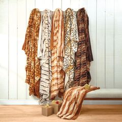 Faux Fur Animal Print Blanket,