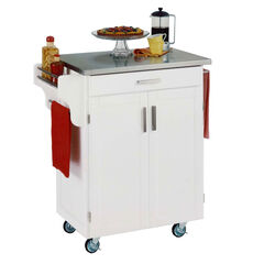 White Wood Kitchen Cart with Stainless Steel Top,