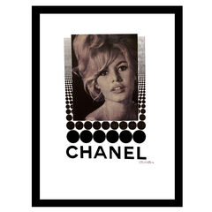 Chanel Brigitte Bardot - White / Black - 14x18 Framed Print,