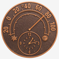 """14"""" Solstice Clock And Thermometer,"""