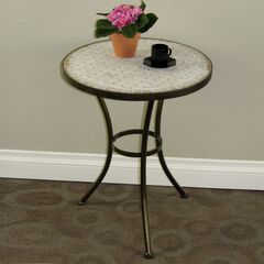 Travertine Round Top Coffee Table,
