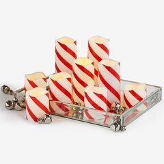 Battery-Operated Candles with Remote, Set of 9, CANDY CANE