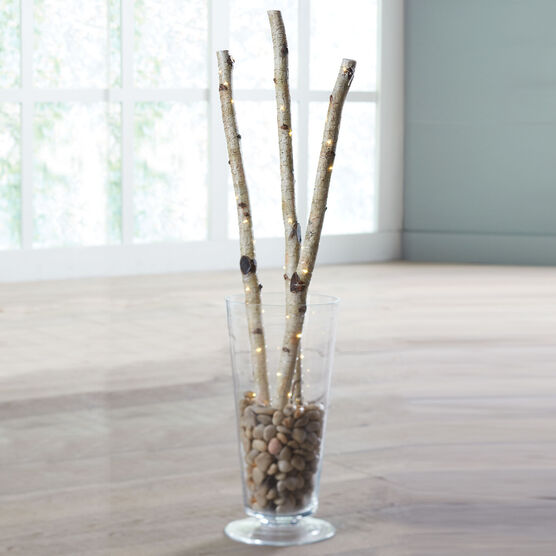 Pre Lit Faux Birch Branches Set Of 3