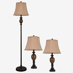 Classic Trio Lamp Set, BRONZE