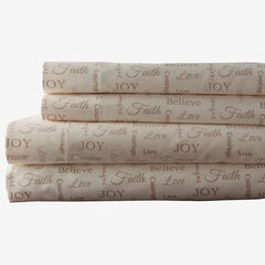 Printed Microfiber Sheet Set, TAUPE INSPIRATIONAL