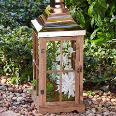 Pre-Lit Floral Lantern, WHITE