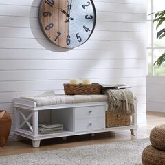 Wyndcliff White Upholstered Storage Bench,