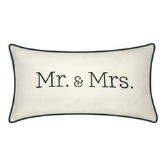 "Celebrations """"Mr. & Mrs."""" Embroidered Decorative Pillow ,"