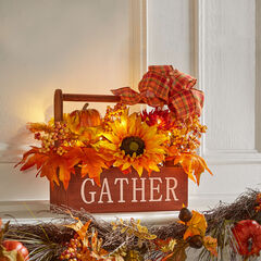 "Pre-Lit ""Gather"" Harvest Box,"