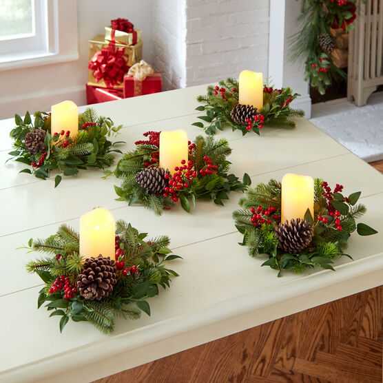 Christmas Candle Rings.Christmas Greenery Candle Rings Image Antique And Candle