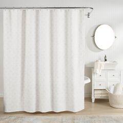 Bogart European Matelassé Shower Curtain, WHITE