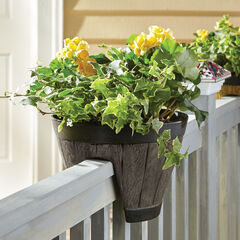 Round Railing Planter, BROWN