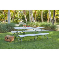 "Fold-In-Half Resin Table, 6' Long, 29¼""Hx30""Wx72""L,"