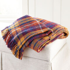 Plaid Tassel Throw, HARVEST
