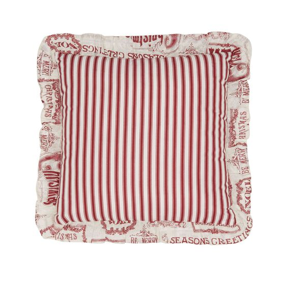 Vintage Christmas 16' Sq. Pillow, IVORY RED