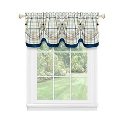 Tattersall Tuck Valance with Buttons - 58x14,